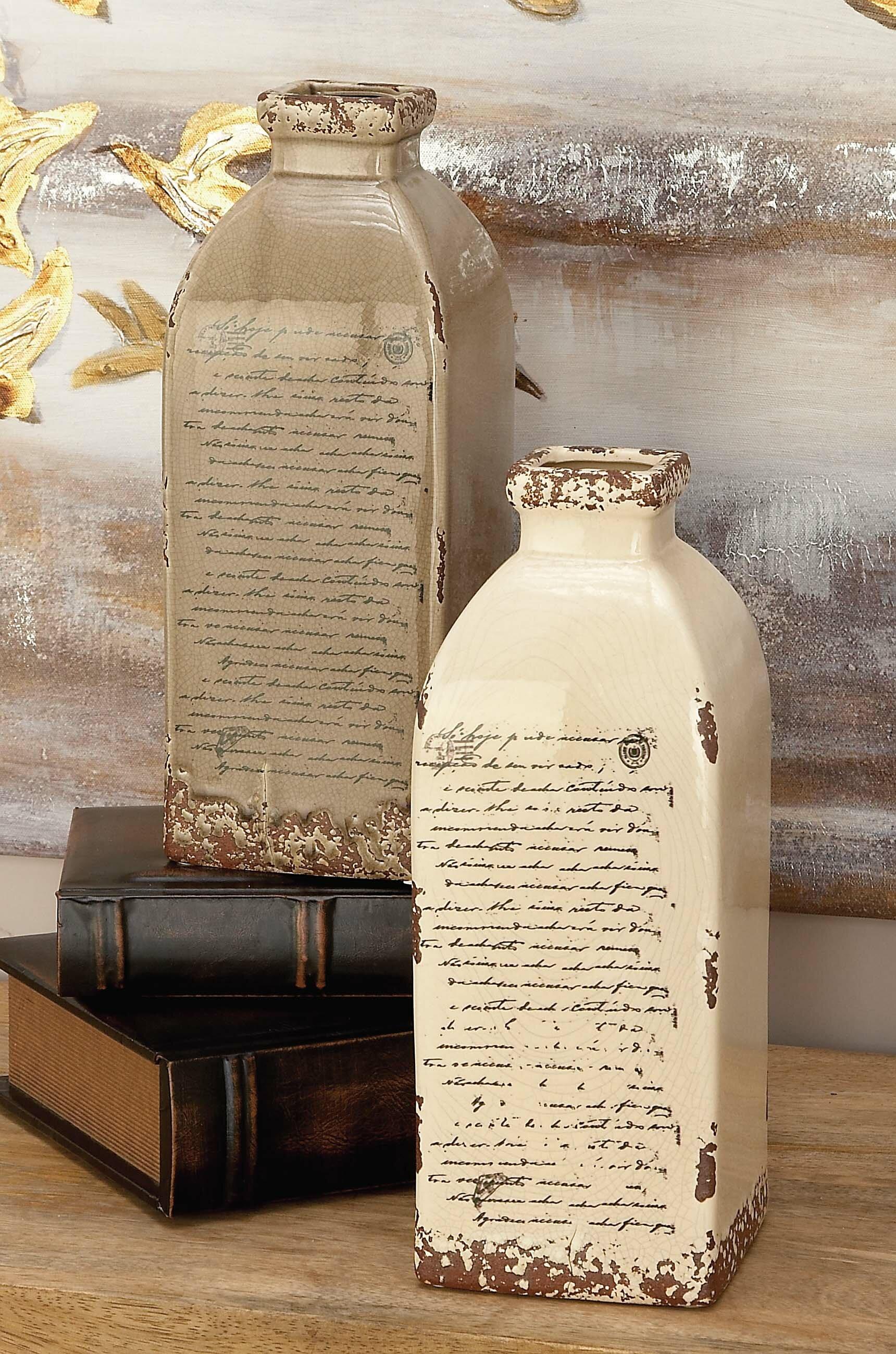 Waterville grey and cream ceramic vase set reviews birch lane reviewsmspy
