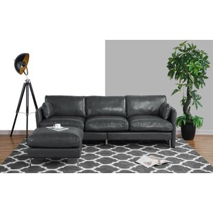Lozada Leather Reversible Modular Sectional with Ottoman