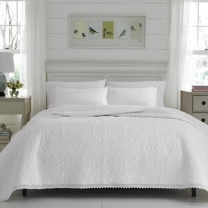 Heirloom Crochet 100% Cotton Reversible Quilt Set by Laura Ashley Home