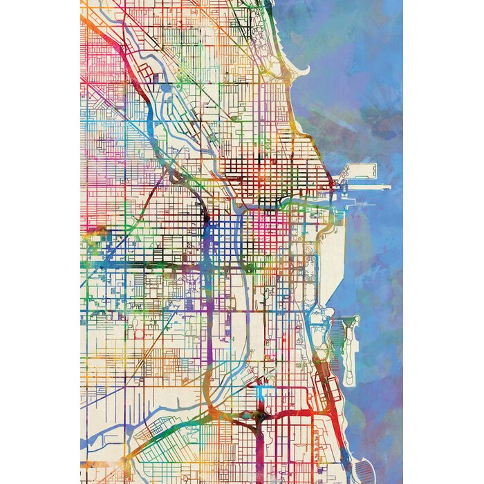 'Urban Rainbow Street Map Series: Chicago, Illinois, USA' Graphic Art on illinois on a map of north america, iowa and illinois usa, detroit map usa, illinois storm radar map, cartoon map of usa, illinois county map, illinois state,
