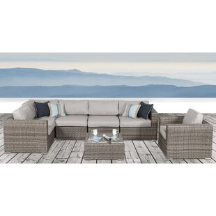 Vardin 7 Piece Rattan Sectional Set with Cushions