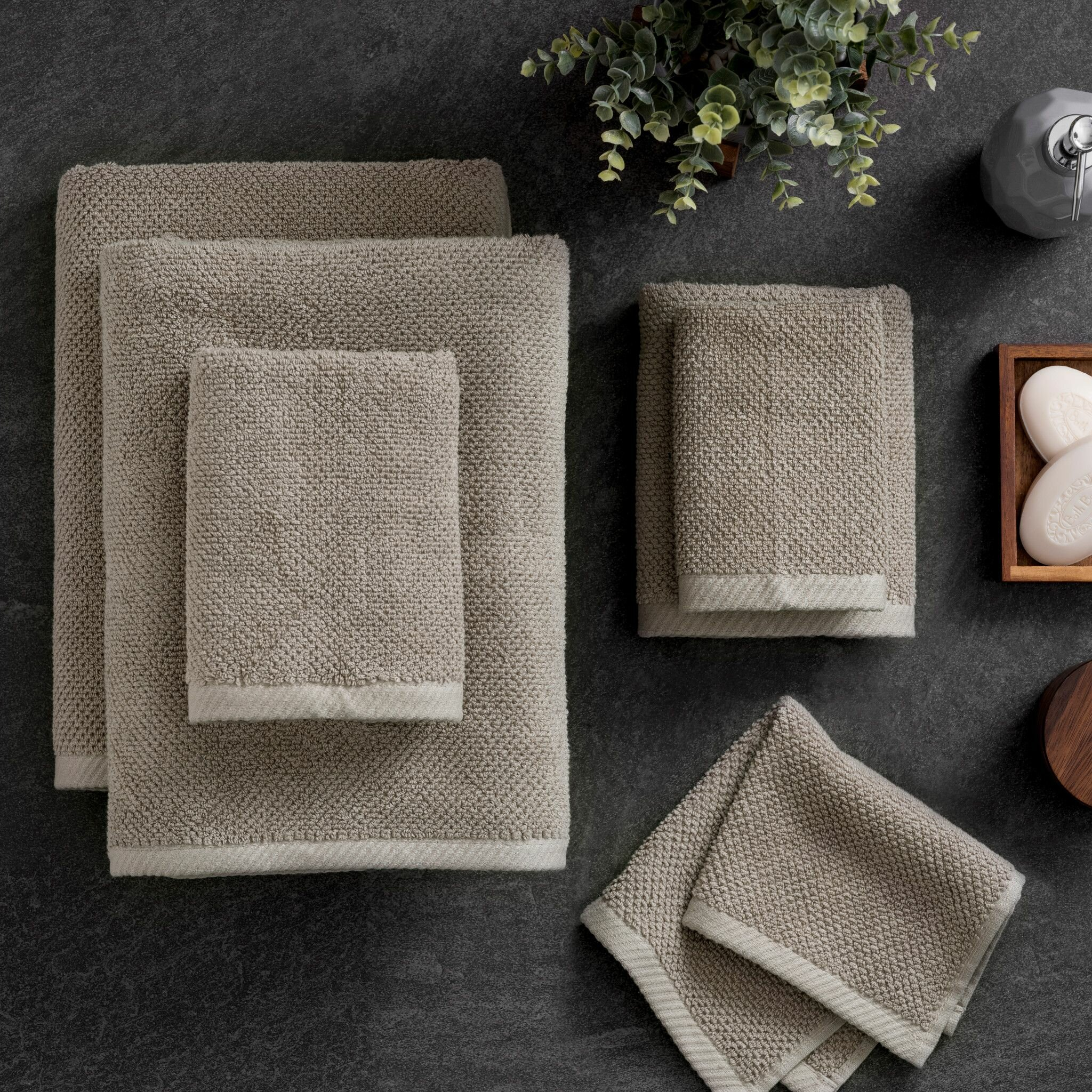Combed Cotton Towels SPA Sheared Border 100/% Pure Cotton 550gsm Linen