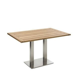 Bistro Folding Stainless Steel And Teak Dining Table Image