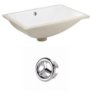 American Imaginations Ceramic Rectangular Undermount Bathroom Sink with Overflow