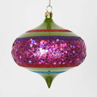 4ct Lime Green And Cerise Pink Shatterproof Christmas Glitter Onion Ornaments 4 100mm