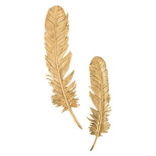 2 Piece Feathers Leaf Resin Wall Decor Set