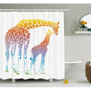 Katzer Giraffe Mom and Kid Giraffe Single Shower Curtain