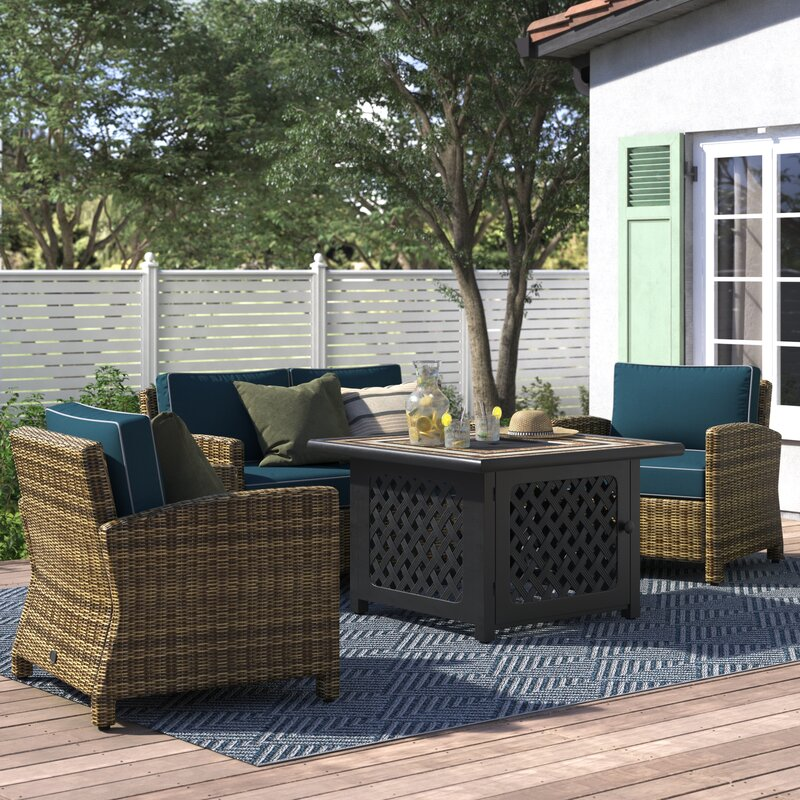 Lawson 4 Piece Outdoor Wicker Seating Set With Navy Cushions Loveseat Two Arm Chairs Fire Table Reviews Birch Lane