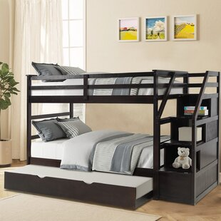 Cedres Twin Over Twin Bunk Bed with Trundle with 4 Drawers