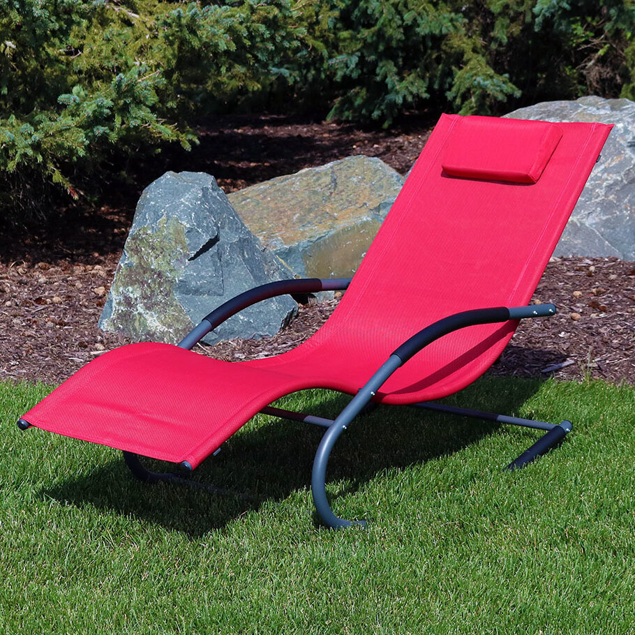 Tommy Bahama Outdoor Cushions, Sunnydaze Outdoor Folding Rocking Chaise Lounge Chair With Headrest Pillow