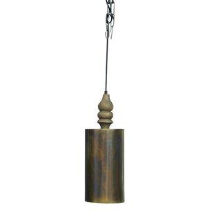 World Menagerie Chantelle Traditional Handmade Iron/Wooden 1-Light Cylinder Pendant