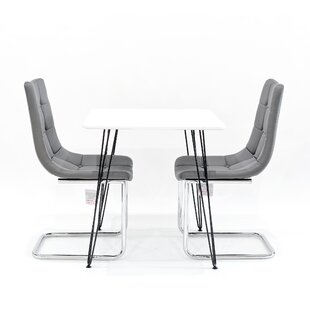 Maguire Dining Set With 2 Chairs In , White By Metro Lane