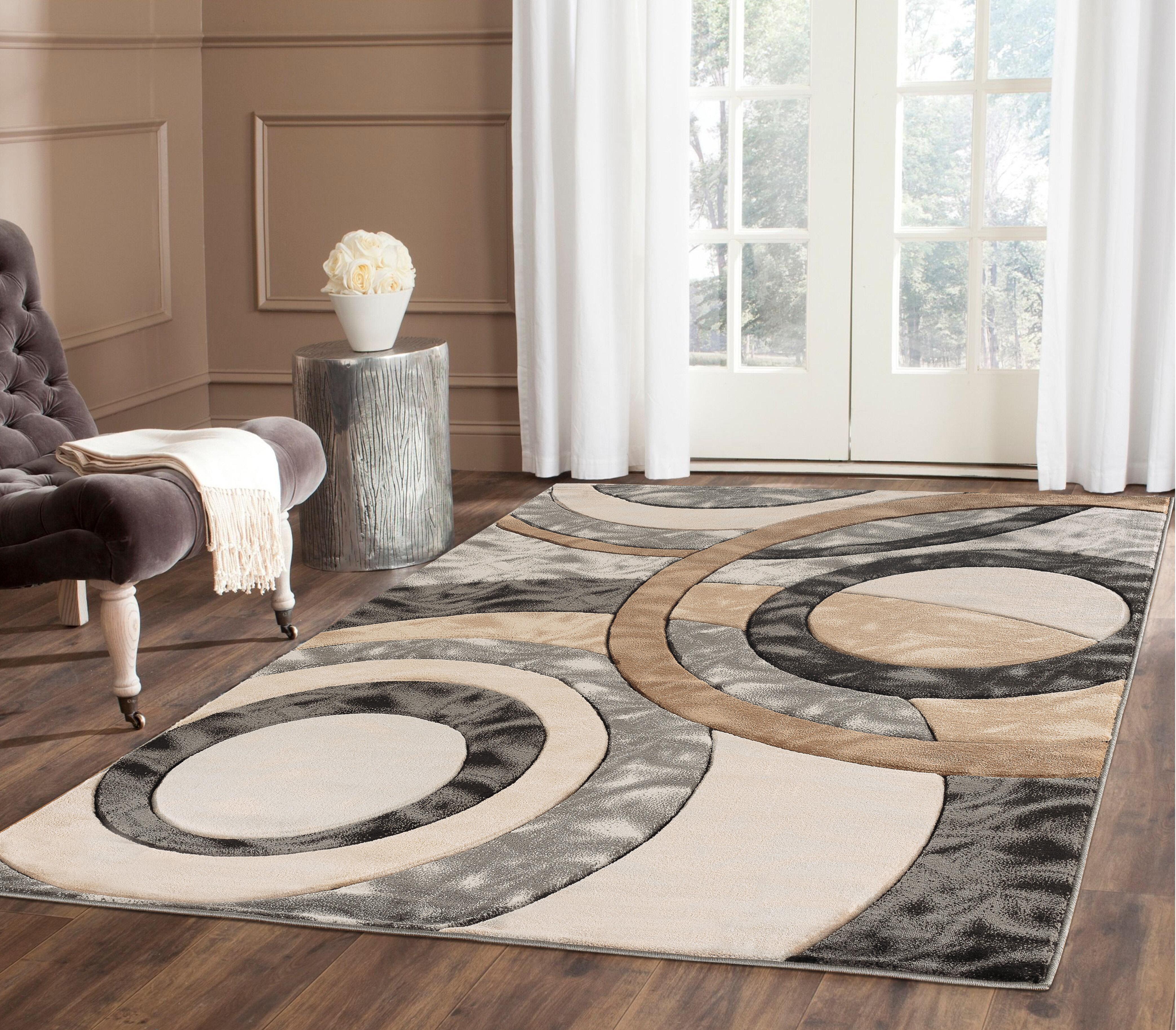 Wrought Studio Adonia Abstract Brown Gray Black Area Rug Wayfair