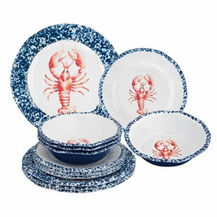 Lakey Lobster 12 Piece Melamine Dinnerware Set Service for 4