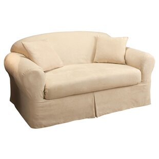 Microsuede 2-Piece Box Cushion Loveseat Slipcover by Madison Home