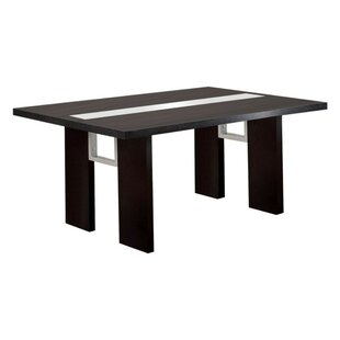 Greenview Contemporary Glass-Insert Solid Wood Dining Table Orren Ellis