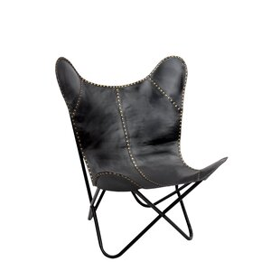 Fashion N You by Horizon Interseas Safari Leather Riveted Butterfly Lounge Chair