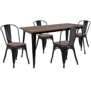 Pridgen 5 Piece Solid Wood Dining Set by ..