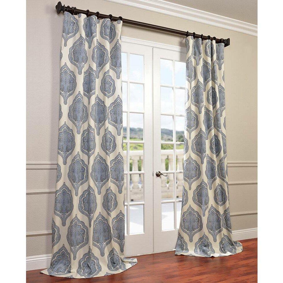 Bungalow Rose Io Twill Damask Semi-Sheer Single Curtain