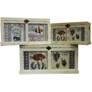 ESSENTIAL DÉCOR & BEYOND, INC Ocean Animals Themed 3 Piece Wooden Trunk Set