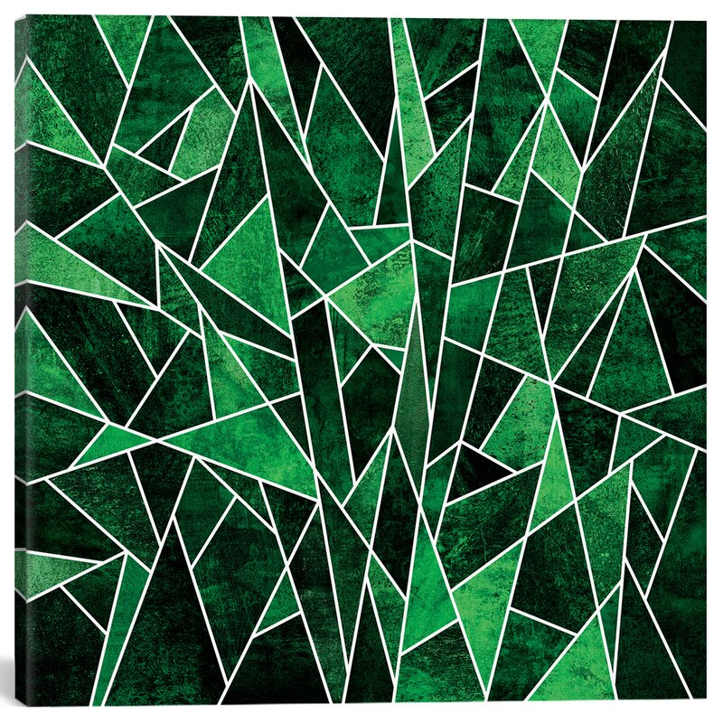 Mercer41 Shattered Emerald Graphic Art On Wrapped Canvas In Green Wayfair