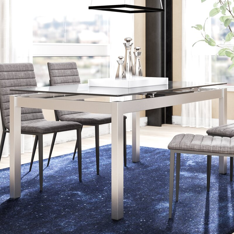 Grizzle Tempered Glass Top Extendable Dining Table AllModern - Glass top extendable dining room table
