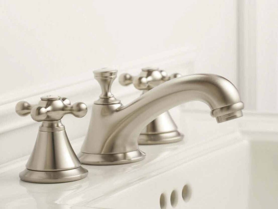 Seabury Cross Handles #brushednickel #bathroomdesign