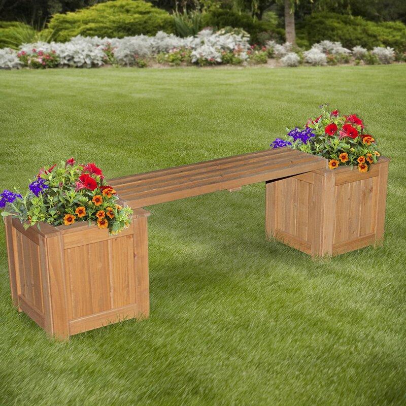 All Cedar Wooden Planter Bench