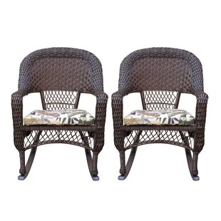 Belwood Resin Wicker Rocking Chair with Floral Cushions (Set of 2) Bay Isle Home