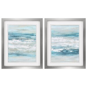 At The Shore 2 Piece Framed Painting Print Set