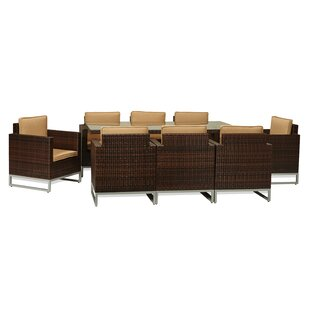 Latitude Run Impriano 9 Piece Dining Set with Cushions
