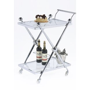 Rolling Glass Bar Cart by Design Guild