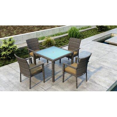 Gilleland 5 Piece Dining Set With Sunbrella Cushion by Orren Ellis Discount