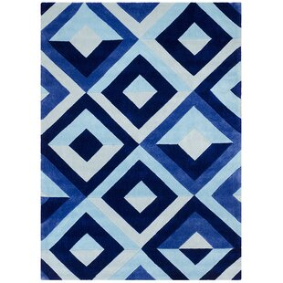 Best Price Hand Carved Diamond Blue/White Area Rug By Brady Home