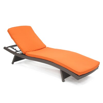 Indoor/Outdoor Chaise Lounger Cushion Color: Red