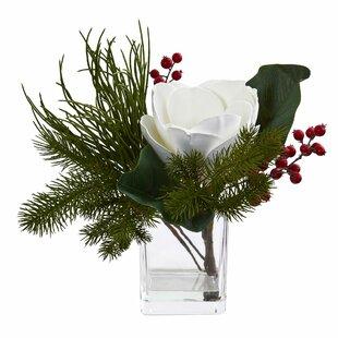 Magnolia & Berries Floral Arrangement in Decorative Vase
