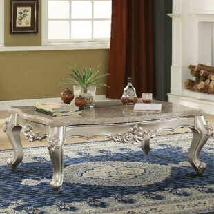 Alvah Traditional Rectangular Wood and Marble Coffee Table