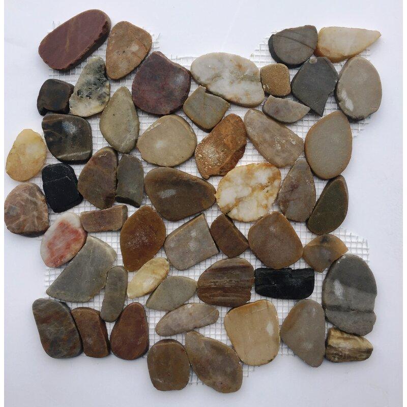 "Natural Green Mix Pebble Tile 12/""x12/""  River Rock Natural Stone Earth Tone"