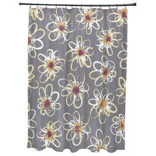 Cherry Penelope Floral Geometric Print Single Shower Curtain