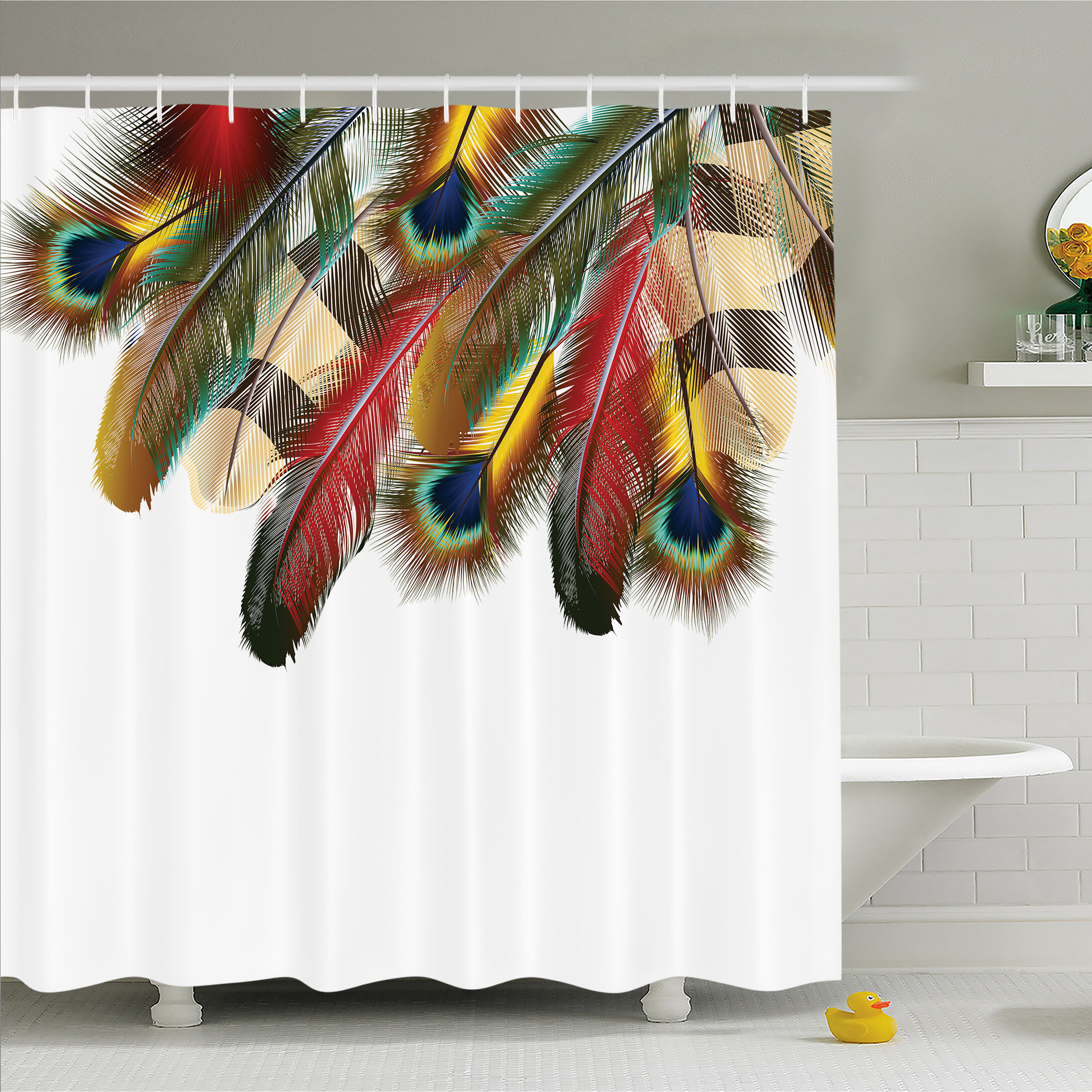 Home Garden Dark Green Peacock Feather Fabric Shower