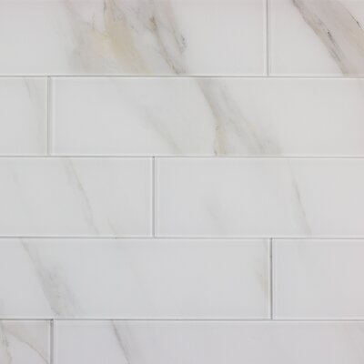 Abolos Abolos Nature Stone Look Rectangle 4 in. x 16 in. Glass Handmade Backsplash Bathroom Subway Wall Tile Color: Calacatta White
