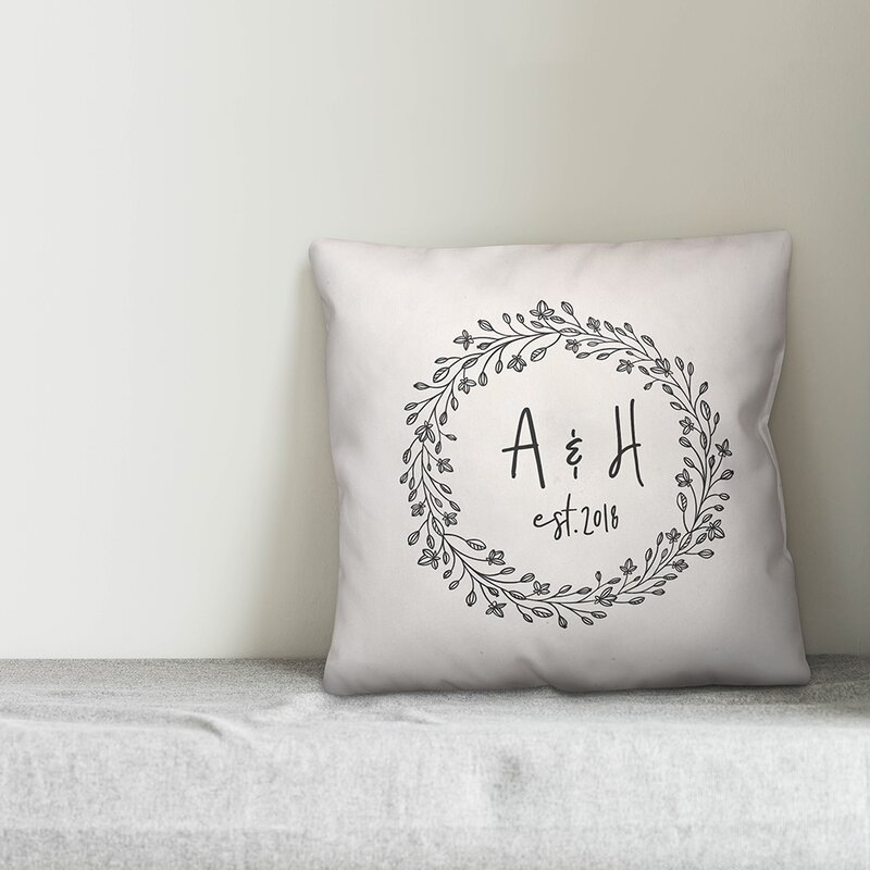 Charlton Home Harting Wreath Personalized Outdoor Throw Pillow Wayfair