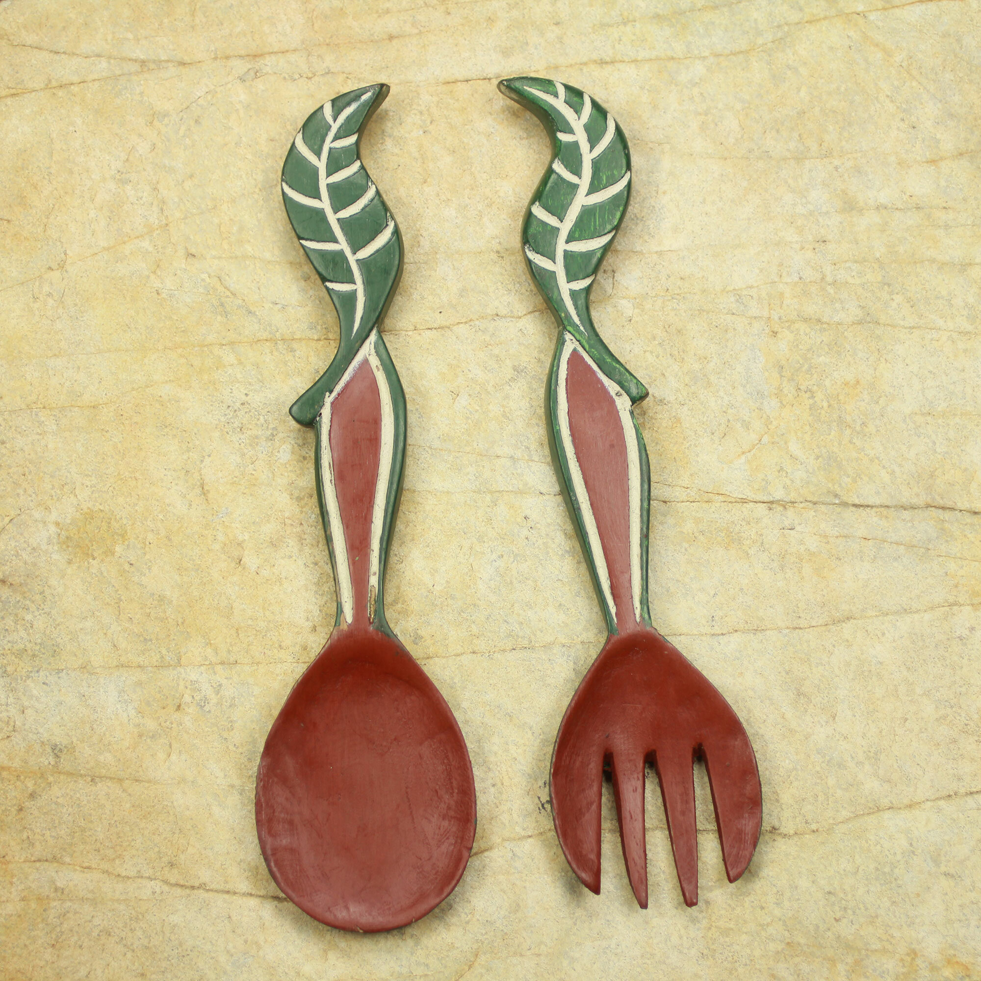 Novica Nourishment Hand Crafted African Wood Spoon and Fork Wall ...