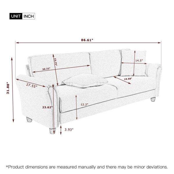 Lenward 86.61'' Rolled Arm Sofa