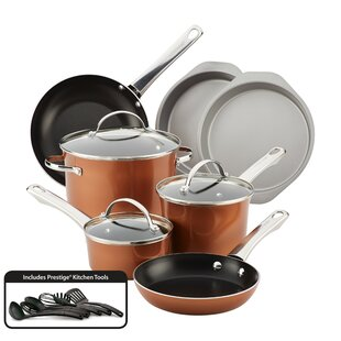 16 Piece Luminescence Aluminum Non-Stick Stainless Steel Cookware Set (Set of 16)