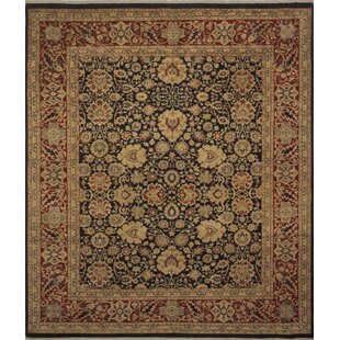 Inexpensive One-of-a-Kind Mickey Hand Knotted Wool Navy/Beige Area Rug By Isabelline