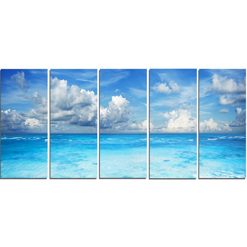 Designart Bright Blue Waters And Sky Panorama 5 Piece Wall Art On Wrapped Canvas Set Wayfair