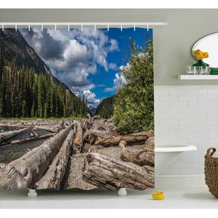Burtine Nature Theme Driftwood on a River The Cloudy Sky and Trees Landscape Single Shower Curtain