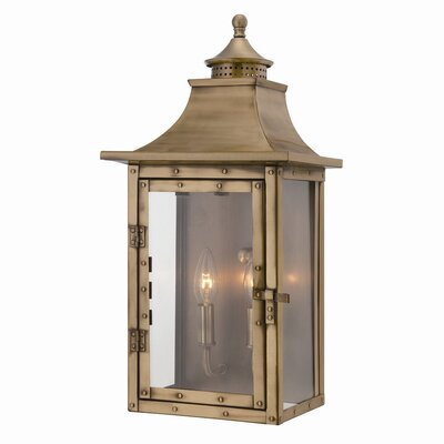 17 Stories Dillion 2 Light Outdoor Wall Lantern Fixture Finish Aged Brass