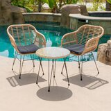 Salsbury 3 Piece Bistro Set With Cushions by Bungalow Rose
